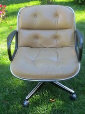 Charles Pollock Knoll Mid-Century Modern Chrome & Leather Executive Office Chair