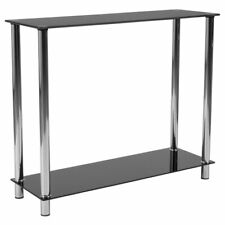 Flash Furniture Glass Top Console Table in Black
