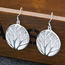 Women Fashion Silver Hollow Tree Silver Dollar Drop Hook Earrings Vogue Jewelry