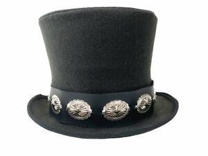 Victorian Tophat Mad Hatter Topper Slash Steel Concho Medallion Leather Band USA
