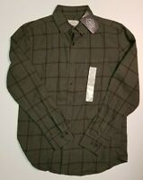 St Johns Bay Mens Long Sleeve Flannel Sage Windowpane Plaid SMALL NWT MSRP $30