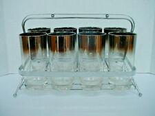 Vintage Mid Century Modern Art Deco Bar Drinking Glasses in Chrome Holder