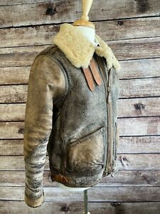 Polo Ralph Lauren B3 Military Shearling Leather Jacket Size L