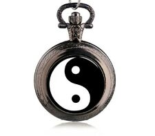 Taschenuhr Mini  Yin und Yang  Balance Kraft positive Energie +Kette 80cm UM18