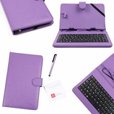 "Purple Case w/ AZERTY Keyboard for Coby Kyros 7-Inch, MID8126, MID7024 7"" Tablet"