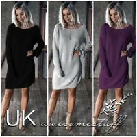 UK Womens Pullover Christmas Sweater Dress Ladies Knitted Jumper Dress Size 6-18