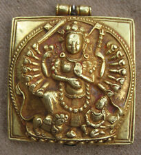 Antique Master Quality Very Old Pure Gold Mother Durga Amulet Gau Pendent, Nepal