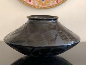 Vintage Mata Ortiz Blackware Textured Pottery Bowl by Eusebio Sandoval