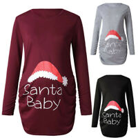 Christmas Maternity Women's Print Side Ruched Long Sleeve Top Pregnancy Clothes