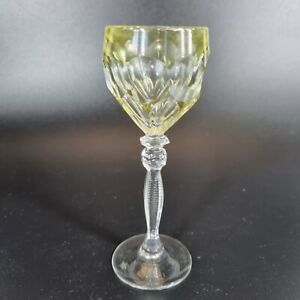 Small Lead Crystal Hock Style Glass Lime Green / Yellow And Clear 12cm High