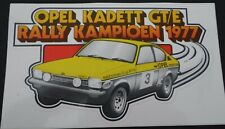 Aufkleber OPEL C Kadett Coupe GT/E Rallye Rally Champion 1977 Oldtimer Sticker