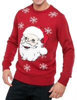 Musical Christmas Jumpers Santa Claus Novelty 3D Music Xmas Festive Knit Red