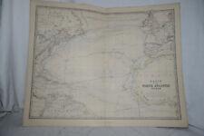 BASIN OF THE NORTH ATLANTIC OCEAN 1877 Antique Map Print W & AK Johnstone