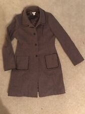 Halogen Women's Wool Blend Coat Medium Brown Mauve Striped