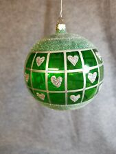 """Large Green Glass and Glitter Christmas Ball Ornament, 4 1/2"""""""