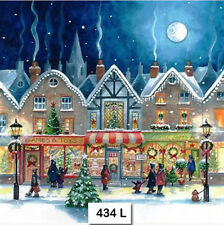 TWO (2) Paper Luncheon Napkins, Decoupage (434) CHRISTMAS, SHOPPING, STREET