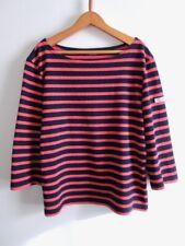 Saint James Womens Breton Striped 3/4 Sleeve Shirt Top Navy Pink S M France Made