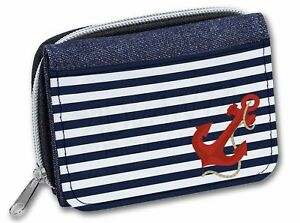 Nautical Stripes Red Anchor Girls/Ladies Denim Purse Wallet Christ, NAUTICAL-1JW
