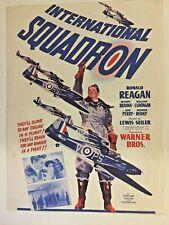 Vintage 1941 Movie Herald INTERNATIONAL SQUADRON Ronald Reagan WWII Airplane