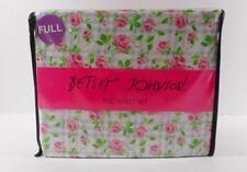 Betsey Johnson FULL Sheet Set Pink Rose with Light Gray Plaid