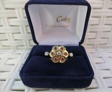 Bague or rose diamants et rubis