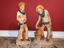 Vintage Lot of 2 Cowboy: Saddle Lasso and Holding Rifle Ceramic Japan from 80's