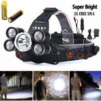 80000LM LED Headlamp 5 Head lamp CREE XM-L T6 18650 Headlight Flashlight Lantern