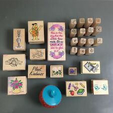Lot of 28 Craft Hobby Wooden Rubber Stamps Scrapbooking Gardening Cartoon School