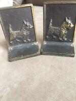 Vintage Brass Scottie Dog Book Ends Terrier  B & H Marking