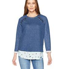 NEW NWT Democracy Dark Blue Lace Up Shoulder w Contrast Hem Sweater S