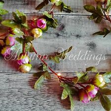 Pink Rose Bud Wire LED Fairy String Lights Battery Garland Indoor Bedroom Flower