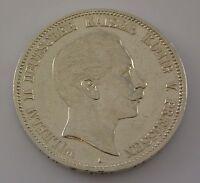 5 Mark Silber Silbermünze / Wilhelm II Deutscher Kaiser König V. Preussen 1908 A