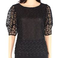 Joie Womens Blouse Black Size 2 Lace Top Balloon-Sleeve Boatneck $278- 262