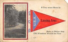 Lansing IA~Tree Lined Street~Red USA Pennant~Weather's Fine, Rain or Shine 1916