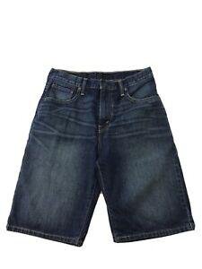 Levis 569 Men's Blue Dark Wash Cotton Loose Straight Jean Shorts Sz 30