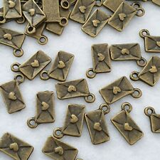 10 x Antique Bronze Love Letter Heart Charm Jewellery Making Pendants Bracelets