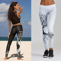 Womens Tree Printed Long Pants Leggings Sports Yoga Workout Gym Fitness Trousers