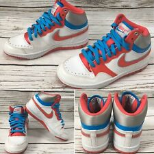 Nike White Pink & Blue Court Force Basketball Hi Top Trainers Girls Ladies  4 UK