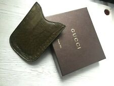 Vintage Gucci Blackberry Leather Phone Holder military croco millenium with box