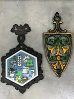 2 Vintage Scroll work Tile  WROUGHT IRON TRIVET Stands, Taiwan