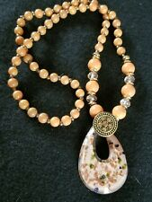 Salmon Jade Beads Necklace & Old Beijing Glaze Pendant Sweater Chain M3002 D4