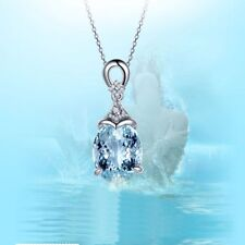 Gift Women Natural Chain Gemstone Pendant Jewelry Necklace Aquamarine