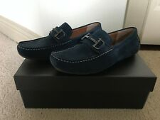 NEW ALFANI JAMES NAVY BLUE SUEDE CLASSIC LOAFER LOW PERFECT FIT SIZE US MENS 9.0