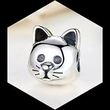 Curious Cat Face Charm 925 Sterling Silver love my Pet Animal xmas gift mum