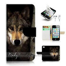 ( For iPhone 4 / 4S ) Flip Case Cover! P0784 Wolf