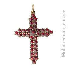 925er Sterling Silber Kreuz Anhänger mit Granat silver cross pendant with garnet