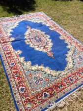 Very large, cheap vintage electric blue Persian rug; 2047
