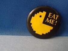 PAC MAN ARCADE GAME EAT ME BUTTON VINTAGE ADVERTISING COLLECTOR PIN mfg CANADA