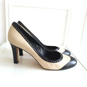 LK Bennett Black Cream Leather Brogue Court Shoes Heel Office Smart Sz 6.5 / 40