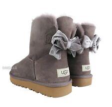 UGG Mini Bailey Bow II Velvet Ribbon Stormy Grey Boots Womens Size 9 *NIB*